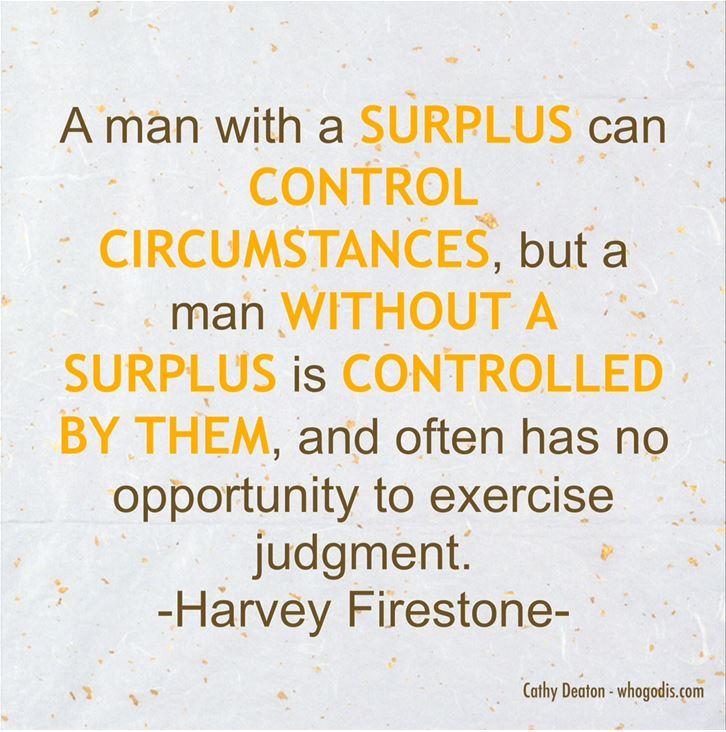 man with surplus control circumstances - harvey firestone