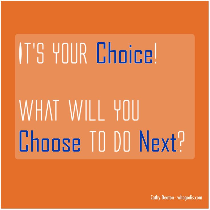 It's Your Choice! What Will You Choose To Do Next?